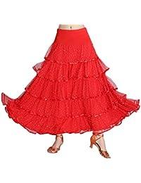 IPOTCH Jupe de Danse Flamenco Paillettes Broderies Florales Swing Dance Jupe 60128d044a8