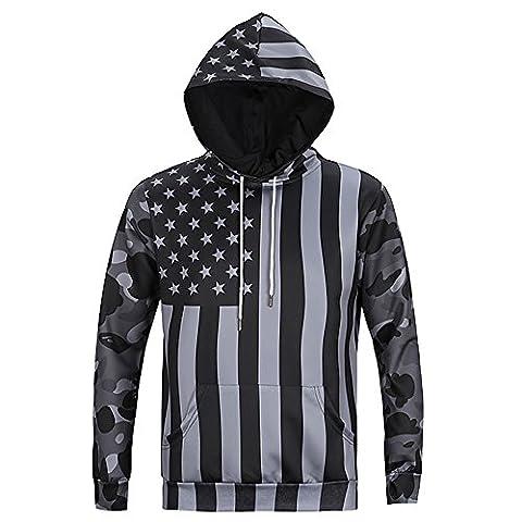 YonBii Hoodie 3D Print American Flag Jumpers Cotton Sweatshirt Graphic for Men