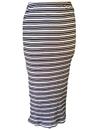 Great Plains Striped Pencil Skirt, Black & Off White
