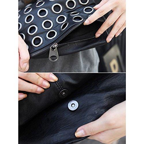 AiSi Damen Unterarmtasche, Clutch, Abendtaschen, Umhängetaschen, Handtasche mit abnehmbarer Kette, 31 x 2.5 x 17.5cm, Reißverschluss Magnetverschluss schwarz Schwarz