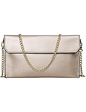 S-ZONE Frauen Echtes Leder Umschlag Kupplungs Envelope Clutch Bag Abendtasche Beutel