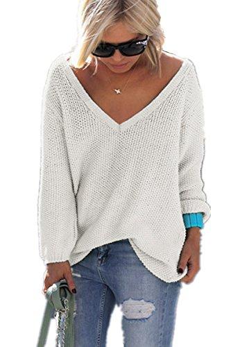 YACOPO Damen Herbst und Winter Arbeiten lose mit Langen Ärmeln V-Ausschnitt-PulloverSexy Pullover mit V-Ausschnitt Pulli tollen Farben - 12 Farben und 4 Größen, Weiß, Asien S/EU 34 -
