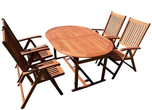 ASS Gartengarnitur Tisch 150-200x100 + 4 Hochlehner 7-Fach Verstellbar Lima Eukalyptus Hartholz Wie Teak von