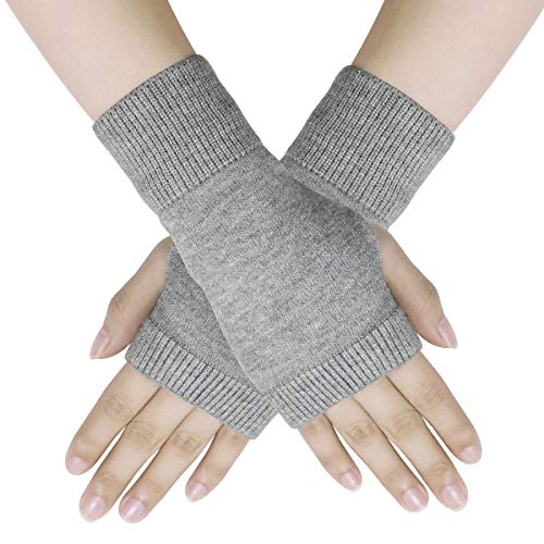 Dokpav Winter Handschuhe Fingerlose Fäustlinge Damen Wolle Warm Fingerhandschuhe Fingerlos Halb Handschuhe Strick Handschuhe Grau