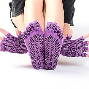 BSD Yoga Socken Set Damen Handschuhe Anti-Rutsch-Sport Fünf Finger aus Reiner Baumwolle Vier Jahreszeiten