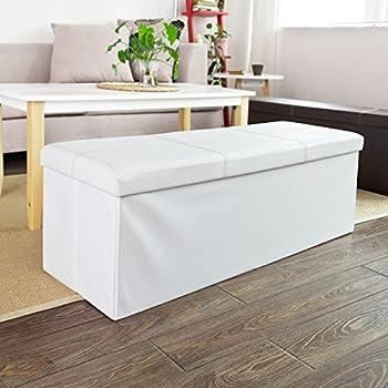 SoBuy FSS17-EL-W 110x38x38cm Exra Long, Tabouret Boîte de Rangement Pouf Dé Pliable Cube Coffre, Blanc
