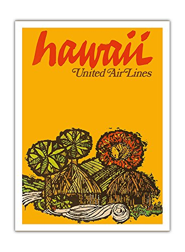 Pacifica Island Art Hawaii - United Air Lines - Hawaiianische Grashütten - Vintage Retro Hawaii Reise Plakat Poster von Jebavy c.1967 - Premium 290gsm Giclée Kunstdruck - 30.5cm x 41cm -