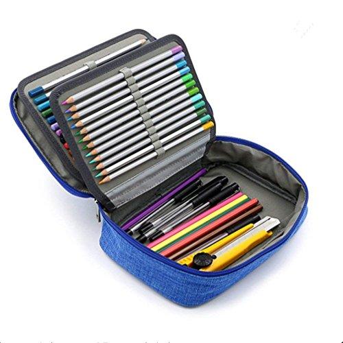 Caja de 72lápices de colores profesional gran capacidad Plumier multifuncional bolsa de lápiz 4capas-Plumier (gamuza de lija impermeable niño adulto Simple Mode, color azul 23 * 16.5 * 6.5CM
