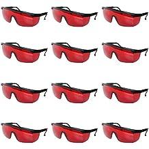 Pack 12 Gafas de Seguridad Lentes Rojos Plásticos por Kurtzy - Gafas Protectoras Duraderas Tintadas Rojo para Mejorar Rayos Láser Rojos y Protección - Gafas Resistentes para Protección Laboral