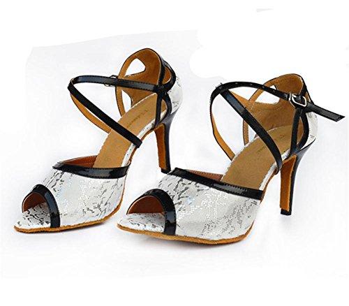 Byjia Sandali Da Donna Salsa Latin Tango Ballroom Heels In Pelle Scamosciata In Pelle Scamosciata Con Le Scarpe Da Ballo In Fibbia Stampa Bianco Nero B