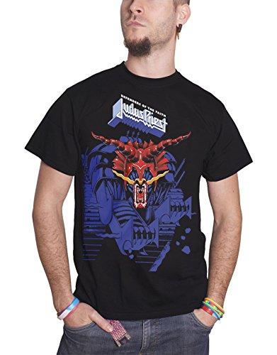Judas Priest T Shirt Defenders of The Faith Blau Logo offiziell Herren Nue