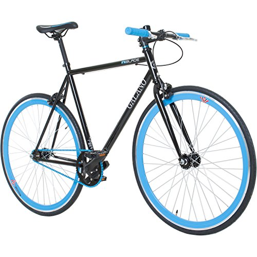 Galano 700C 28 Zoll Fixie Singlespeed Bike Blade 5 Farben zur Auswahl, Rahmengrösse:56 cm, Farbe:Schwarz/Blau