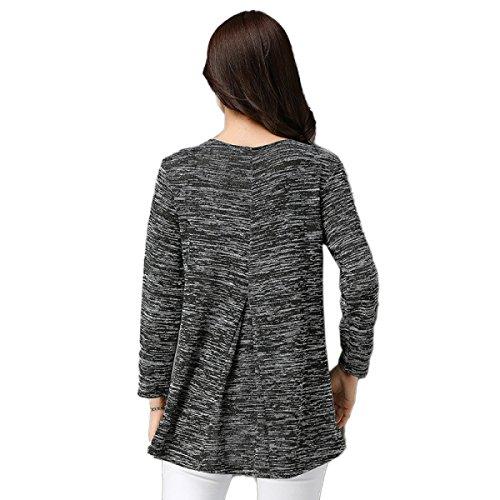 Mesdames Manches Longues Col En V T-shirt Lâche A-ligne Haut Loisirs élégant Pull Bleu Gris T-shirt Grey