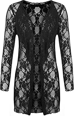 Plus Size Womens Floral Lace Open Cardigan Ladies Long Sleeve Waterfall Top 12 - 26