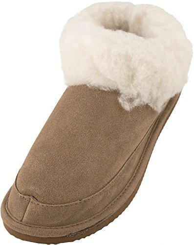 Lambland Chaussons en daim véritable et peau de mouton pour femme Semelle légère Camel
