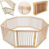KIDUKU Barrière de sécurité Parc bébé XXL 7,2 mètres, pliant, porte inclus, à 8 pièces, forme individuelle selon votre choix