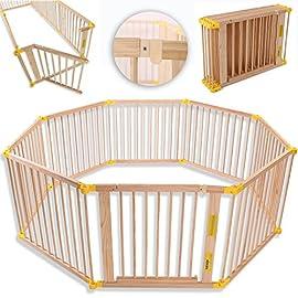 KIDUKU® XXL Box per Bambini Barriera di sicurezza di 7,2 metri, pieghevole e porta inclusa, composto da 8 Elementi…