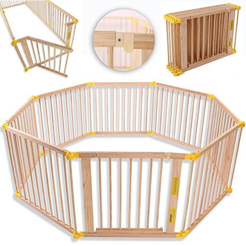 KIDUKU® 7,2 Meter Laufgitter XXL klappbar inkl. Tür, bestehend aus 8 Elementen, individuell formbar Laufstall Absperrgitter - Baby Zaun