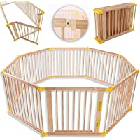 KIDUKU® Barrière de sécurité Parc bébé XXL 7,2 mètres, pliant, porte inclus, à 8 pièces, forme individuelle selon votre choix