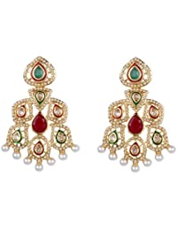 Green Ruby Kundan pearl earrings