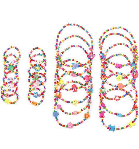 BE STEEL 24PCS Kinder Kette Armband Set für Mädchen Kinder Prinzessin Farbige Holzperlen Halskette Party Schmuck
