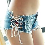 CU@EY Stylische sexy Hot Pants Jeans-Look seitlich frei