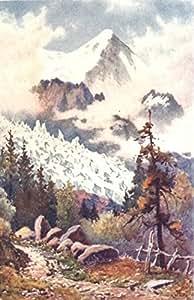 HAUTE-SAVOIE: Glaciers des Bossons, Chamonix imprimé vintage, 1917