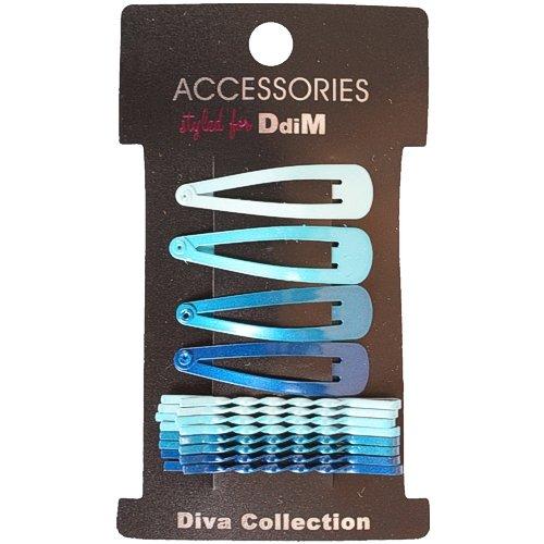 12er Set 4 Haarspangen & 8 Haarklemmen (gedreht) verschiedene Blautöne auf SB Karte, Haarklemme, Haarklammern, Haarspange, Haarclip, 0679