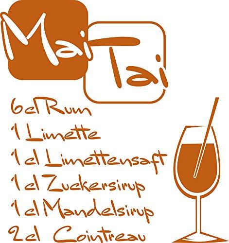 GRAZDesign Wandtattoo Küche Spruch Mai Tai Rezept Cocktail Wand-Deko für Café, Bar, Kneipe als Aufkleber (43x40cm//083 haselnussbraun)