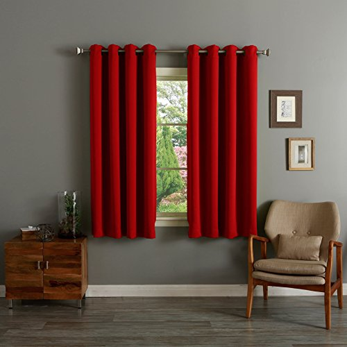 RAYYAN LINEN THERMAL WOVEN RING TOP EYELET BLACKOUT CURTAINS [RED 66″ X 90″] READY MADE INCLUDING TIE BACKS
