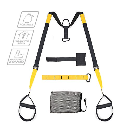 multifun Suspension Fitness, Allenamento in Sospensione 200KG Max, Strap Training Portatile, Suspension Trainer con Ancoraggio per Porta