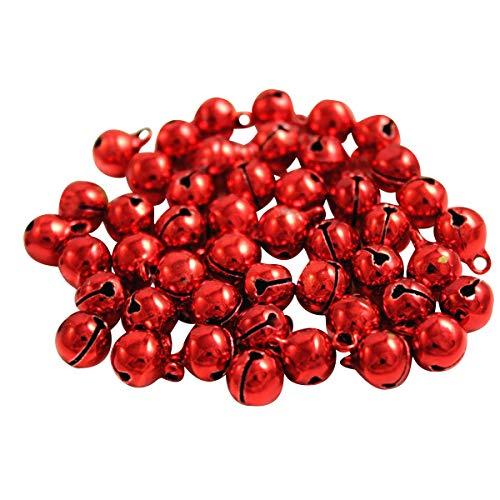 Kleenes Traumhandel 100x Glöckchen Schellen Glocken aus Kupfer - 11x7 mm (Rot)
