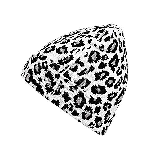BESSKY Erwachsene Frauen Männer Winter Leopard Crochet Hat Knit Hat Warm Cap Weiße Strickmütze aus Leopardenwolle