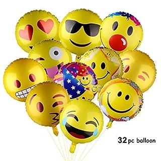 Asdomo Emoji-Partyballons, 45,7 cm, Smiley-Gesicht, Jumbo-Folie, Helium-Luftballons für Party, Geburtstag oder Urlaub, Dekoration, 32 Stück