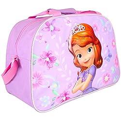 Kinder Sporttasche für Mädchen Disney - Trainingtasche Prinzessin Sofia die Erste, perfekt für in die Turnhalle, auf Reisen oder in der Freizeit - Violet - 42x28x18 cm - Perletti