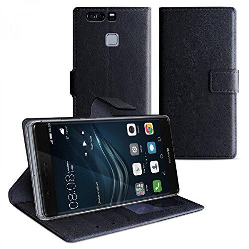 eFabrik Tasche für Huawei P9 PLUS Hülle Smartphone Case Schutztasche mit Aufsteller und Innenfächer Handy Zubehör Leder-Optik Schwarz