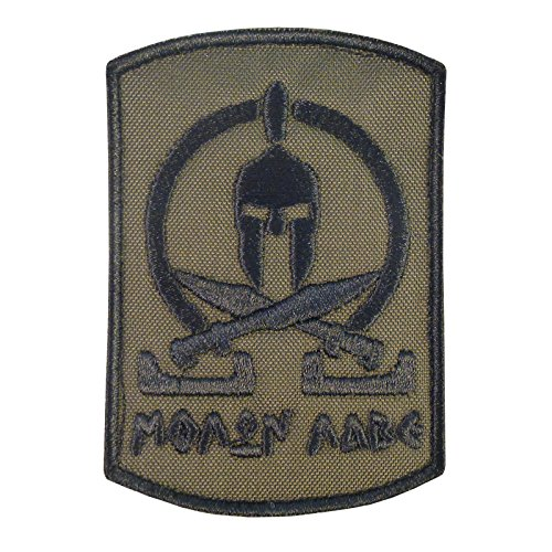 Olive Drab Green Spartan Molon Labe Taktisch Tactical Morale Army Milspec Embroidered Touch Fastener Aufnäher Patch (Camo Bdu Uniform Woodland)