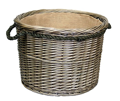 Extra Large Antique Wash Finish Rope Handled Wicker Log Basket by Wicker...