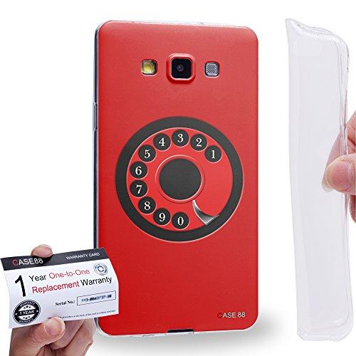 Case88 [Samsung Galaxy A7 (A700)] Gel TPU Hülle / Schutzhülle & Garantiekarte - Art Hand Drawing Red Retro Phone Art2084 A700 Cell Phone