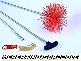 BARETTO - Kit Spazzacamino Flex - 3 molle - Scovolo 150mm Nylon Spazzola Pulizia Camino Canna Fumaria Pellet
