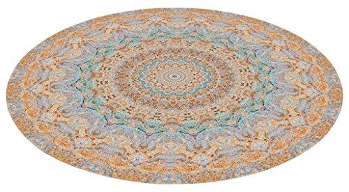 Printodecor Alfombra Vinílica Redonda Geométrico Pastel, PVC, Multicolor, 60x60x3 cm