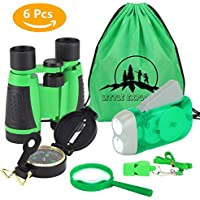 Kit de Aventura para Niños 6 Piezas Binoculares Linterna de Manivela Mini Brújula Lupa Silbido Mochila con Cordón Kit de Juguetes de Exploración(Verde)
