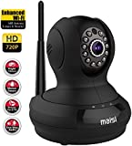 [Enhanced Wi-Fi] Network IP Camera, MAISI Indoor Wireless Day Night Pan/Tilt Baby Monitor / Surveillance Network IP Camera, and MORE (HD 1280x720p Mega-Pixels, Two Way Talk, Built-in Mic & Speaker, QR Code Scan & Connect, iOS & Android Mobile View, Motion Detection & Push Notification, ENHANCED 3dB Antenna, Black)