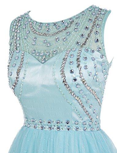 Dresstells, Robe de cérémonie Robe de soirée emperlée dos nu col rond sans manches longueur ras du sol Bleu