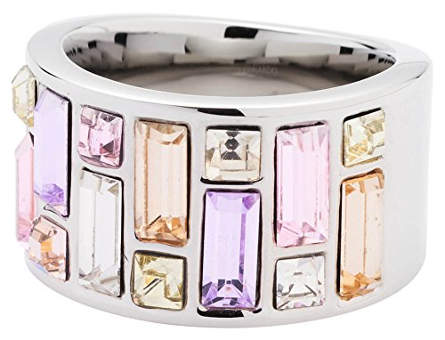 JEWELS BY LEONARDO Damen Ring Elba Edelstahl/silberfarben Glas mehrfarbig gold rosa flieder Ringgröߟe 60 (19.1) 016524