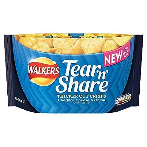 Walkers Tear 'N' Share Cheddar Cheese & Onion Thicker Cut Crisps, 150g