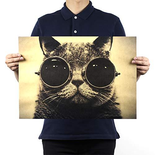 Cool schöne Katze Sonnenbrille Felsen Tier Kraft Paper Bar Poster Retro Poster Dekorative Wand-Plakat (ohne Rahmen)