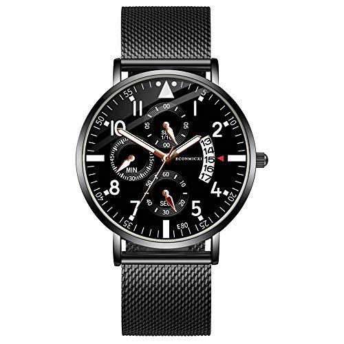Armbanduhr jungen Liusdh Uhren Herren Mesh Gürtel Uhr ultradünne blaue Uhrengehäuse mit Datumsanzeige Quarz Runde Uhr(D,Einheitsgröße)