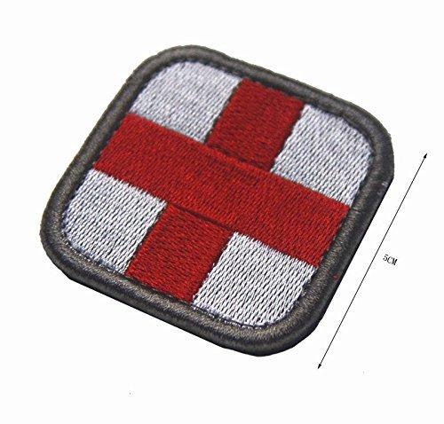 Kreuz Medic Patch Tactical medizinische Stickerei Applique Abzeichen auf Kleidung Tasche Hut für Outdoor-Sport (weiß) -