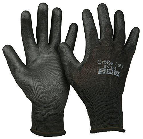 12 Paio SBS Guanti di nylon in nero - 10